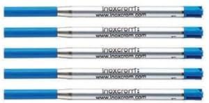 Paquete 5 Inoxcrom EASYFLOW Parker Estilo G2 bolígrafo recargas tinta azul punto medio Metal