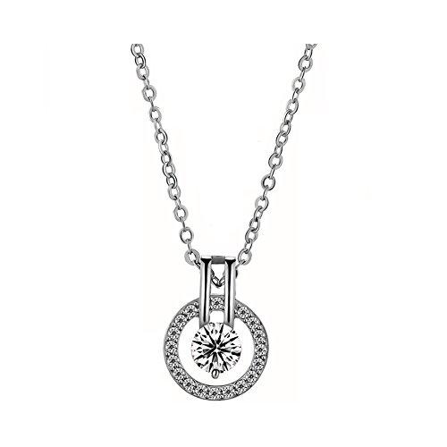 SpiritleleI Love You Crystal Round Pendant Necklace Women Girls Silver/Rose Gold
