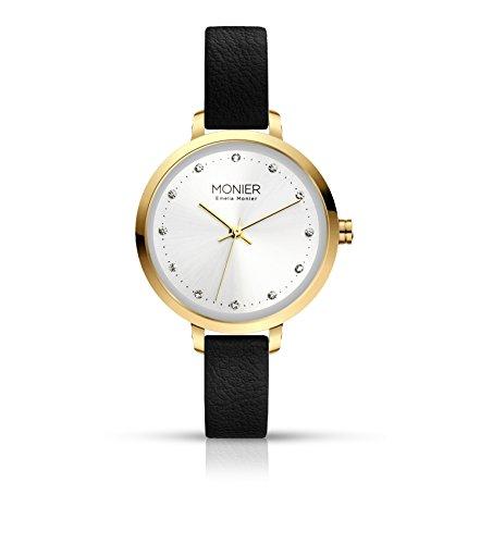 - Emelia Monier Crystal Icon Gold Tone Women's Watch with Black Leather Strap EML004-02BL