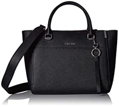 Trendy saffiano leather large satchel with multiple interior organizational features and a crossbody strap