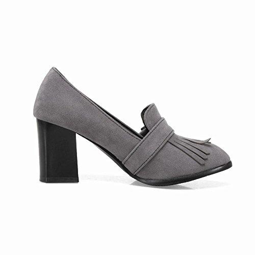 Mee Shoes Damen chunky heels Quaste runde Pumps Grau