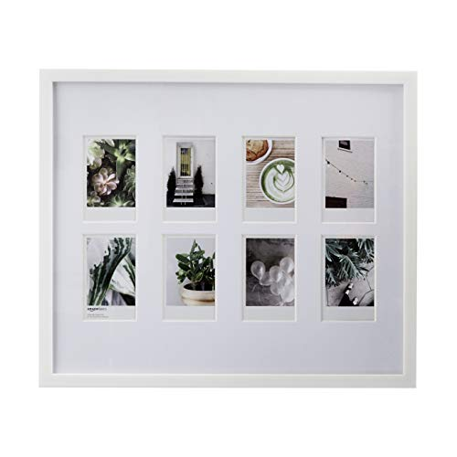 "AmazonBasics Photo Frame for use with Instax - 8-Opening - 3.25""x2"", White"