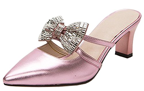 On Toe Mid Sandals With IDIFU Womens Pink Block Closed Slip Mules Heels Sexy Pointed Bows B4FgFqIz