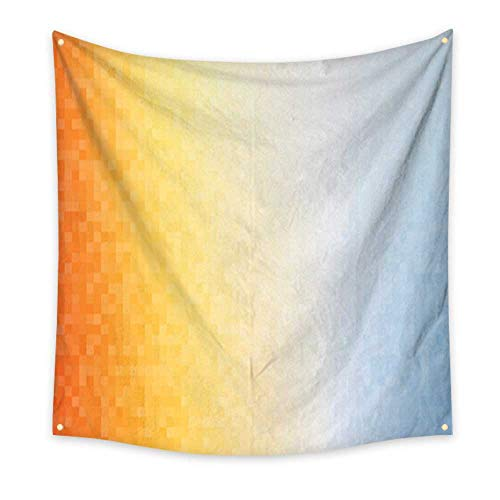 (homehot Tapestry Bedding Orange Blue Squares Mosaic Summer Background Dorm Living Room Bedroom 70W x 70L Inch)