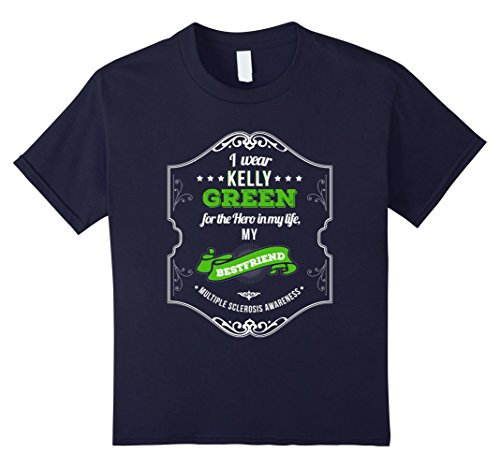 Kids Hero of My Life My Best friend MS Awareness T-Shirt 12 Navy (Ms Awareness Color)
