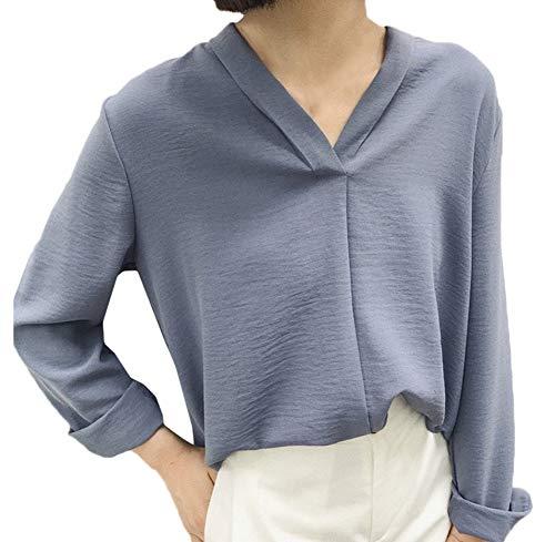 en Blouses Chic Longues Bleu de Manches Shirt Longues lache Manches Longues Femme Mousseline Snone Shirt Shirts Soie T pour T lgantes Style T Femmes Manches qAZtF