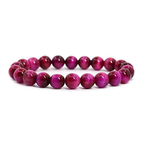 (AA Dyed Rose Tiger's Eye Gemstone 8mm Round Beads Stretch Bracelet 7