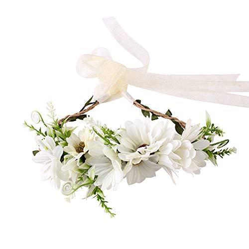Women Baby Girl Bride Flower Crown Boho Floral Headpiece for Party Wreaths Hair Bands Flower Headband (D)