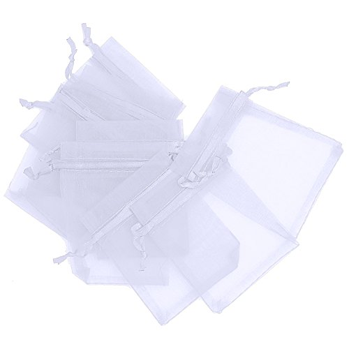 LEFV™ Organza Bags Sheer Drawstring Pouches Jewelry Wedding Party Christmas Favor Gift Bag, 2.5inch x 3.5inch, Pack of 50(White) ()