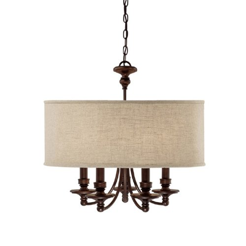 Capital Lighting 3915BB-454 Chandelier with Beige Fabric Shades, Burnished Bronze Finish