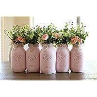 Mason Jar Centerpiece Set, Pint OR Quart Size Mason Jars, Your Choice of Jar Colors, 5 jars, Silk Flowers Optional