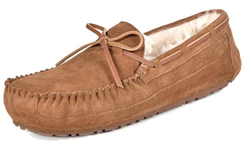 DREAM PAIRS Men's Au-Loafer-02 Tan Sheepskin Fur Moccasins Slippers Loafers Shoes Size 14 M (Tan Sheepskin Moccasin)