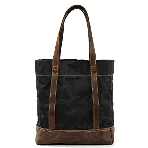 (WUDON Women Waxed Canvas Tote Bag - Yoga Mat Shoulder Bag For Work, Travel, Gym (Black`))