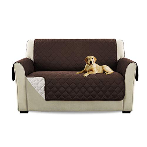 - Turquoize Cotton Feeling Reversible Quilted Furniture Protector with Elastic Straps, Sofa Cover for Pets (Love Seat - Brown/Beige, 75