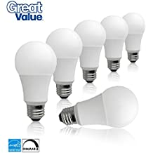 (Case of 6) Great Value Dimmable LED A19 60W Replacement Light Bulbs in Soft White with Medium Screw-In Base (10W, 2700K, E26 Base, Energy Star Rated, 25,000 Hours, 800 Lumens)