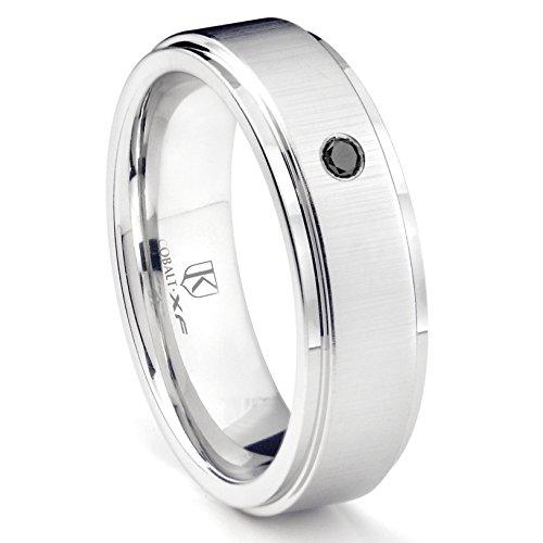 Cobalt XF Chrome 8MM Solitaire Black Diamond Wedding Band Ring w/Raised Center Sz 10.0 (Bands Diamond Titanium Black Wedding)