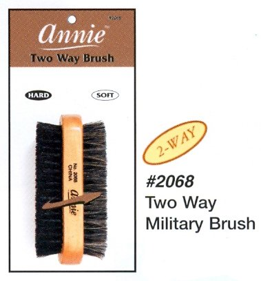 Hard Brush (Annie 2 Way Wooden Military Brush #2068, Natural bristle, boar bristle, reinforced, wave, 2 sided brush, soft and hard bristle, no more tangles, for all hair types, short hair, long)