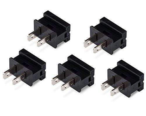 Holiday Lighting Outlet Male Black Slip Plug, Zip Plug, Vampire Plug, Gilbert Plug, Slide Plug (5, SPT-1)