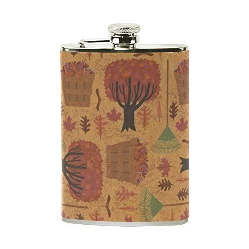 LORVIES Autumn Halloween Wallpaper Drinking Flask with PU