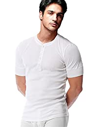 Men's Cotton Short Sleeve Round Neck Slim Button Placket Henley T-shirts