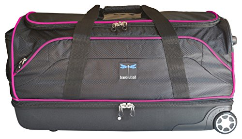 "Travolution 28"" Wheeled Drop-Bottom Duffel with Garment Rack with Pink Trim"