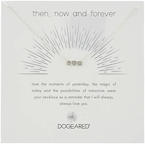 Dogeared Then, Now and Forever, Small Bar with 3 Crystal Chain Necklace, 16