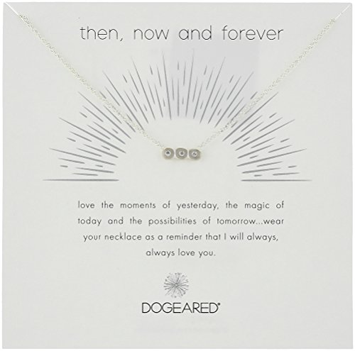 Womens Now And Then (Dogeared Then, Now and Forever, Small Bar with 3 Crystal Silver Chain Necklace, 16