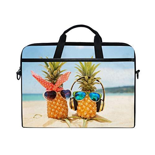 (MOFEIYUE Laptop Bag Tropical Beach Pineapple Music Computer Laptop Case Notebook Laptop Shoulder Messenger Bag Sleeve for Boys Girls Women)