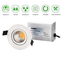 OBSESS 3-Inch IP54 Waterproof Shower Light with 8W COB LED Downlight, Damp Location Use, Shower Room Light, Shower Room Downlights Ceiling Light, White, Aluminum, Dimmable, Warm White 3000K