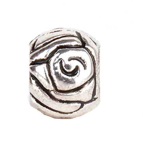 (RUBYCA 30pcs Tibetan Silver Tone Spacer Beads Fit European Charms Bracelet Art Rose Design)