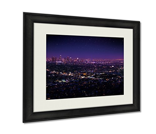 Ashley Framed Prints, Beautiful Night Sky Cityscape View Of Los Angeles, Black, 24x30 - Lights Night Enlightened Art