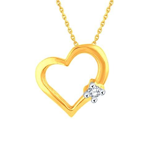 Giantti 14carats Diamant pour femme Collier Pendentif cœur (0.0107CT, VS/Si-clarity, Gh-colour)