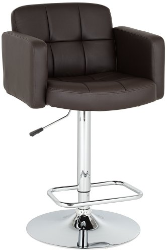 Faux Leather Adjustable Swivel Bar Stool ()