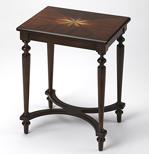 Accent Furniture - Crown Court Inlaid Accent Table - Starburst Inlay Accent Table - Inlaid Accent