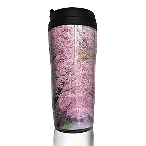 RYAN OWEN Sakura Strasse Household Insulated Travel Mug with Lid Spill Proof Coffee Cup for for Hot & Cold Drinks Hiking, Camping & Traveling 350 Ml (Straßen-store)