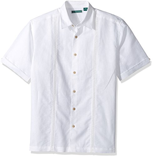 Cubavera Men's Short Sleeve Linen-Blend Shirt with Panels and Contrast Buttons, Bright White, Medium ()