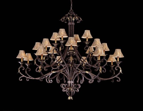 - Zaragoza Twenty Light Chandelier in Golden Bronze with Optional Shades