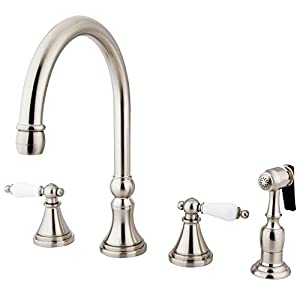 Kingston Brass KS2798PLBS Governor Deck Mount Kitchen Faucet with Brass Sprayer, 8-1/4-Inch, Satin Nickel