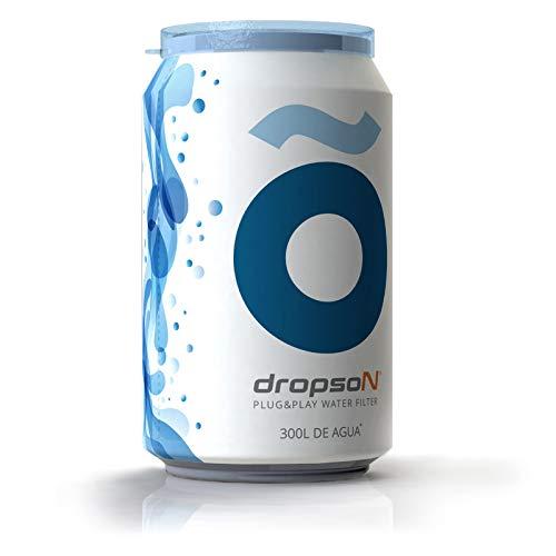 dropson Lata filtrante Filtro de Agua para Grifo, Membrana de microfiltracion 100% Natural, 300 litros de Agua filtrada, monitorizable con Smartphone, Llena una Jarra de 1L en 1 min.