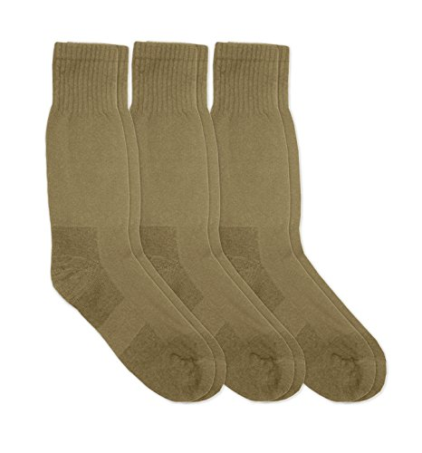 (Jefferies Socks Mens Military Blister Guard Mohair Wool Combat Boot Crew Socks 3 Pair Pack (Sock:10-13/Shoe:9-13, Coyote Brown))