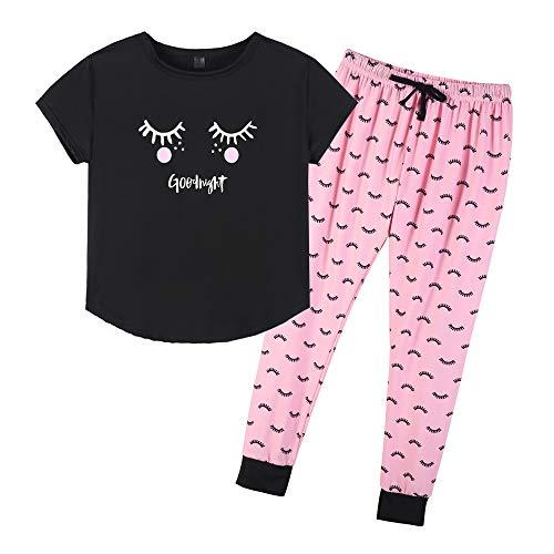 YIJIU Women's Cute Cartoon Eyes Print Top and Pant Pajama Set Lounge Sleepwear ()