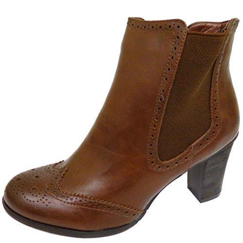 Damen Braun Chelsea Klobiger Absatz Reißverschluss Brogues Smart Stiefeletten Schuhe Größen 3-8