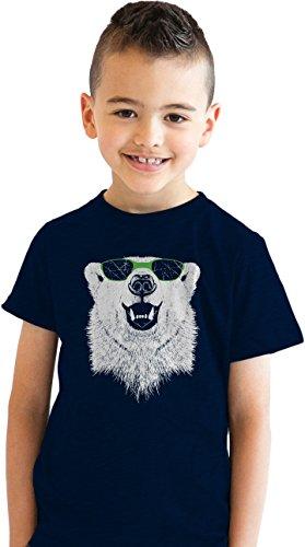 Youth Polar Bear Wearing Sunglasses Funny Animal Graphic T Shirt For Kids (Blue) - Wearing Sunglasses Bear