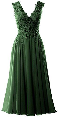 Formal Tea Length V Evening Gorgeous MACloth Dunkelgrun Dress Neck Homecoming Prom Gown pRAWg8q