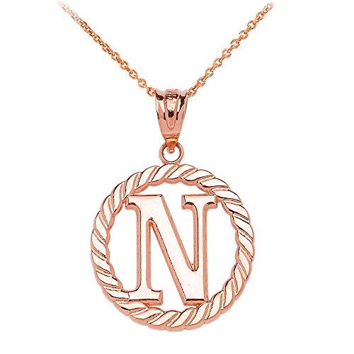 """Collier Femme Pendentif 10 Ct Or Rose """"N"""" Initiale À Corde Cercle (Livré avec une 45cm Chaîne)"""