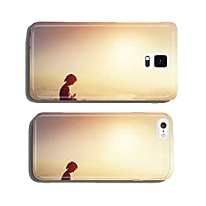 Asian man meditates in yoga position in high mountains at sunset cell phone cover case iPhone6