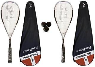 2 x Brunissement De Platine Plasma 110 Raquette De Squash + Pack de balles de squash Dunlop browning