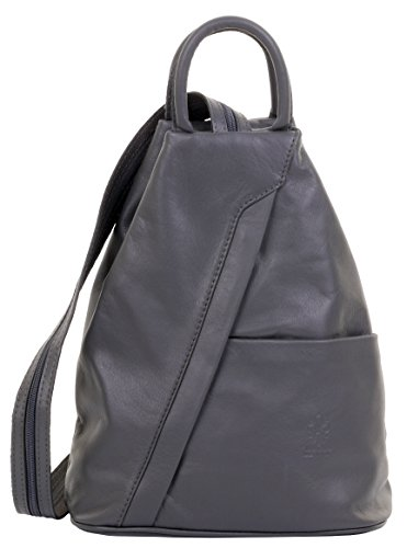 Primo Sacchi Italian Soft Napa Leather Drak Grey Top Handle Shoulder Bag Rucksack Backpack ()
