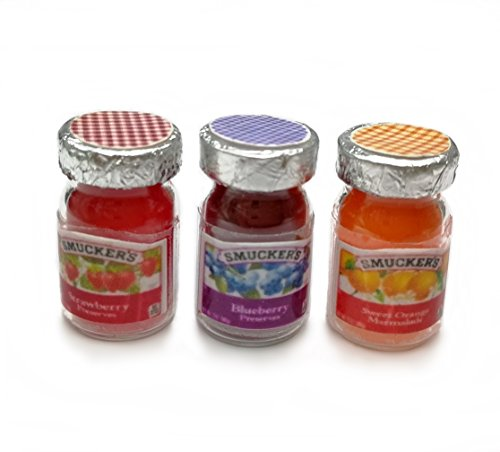 Set of 3 Dollhouse Miniature Flavors Fruit Jam in Glass Bottles from The Best Buy