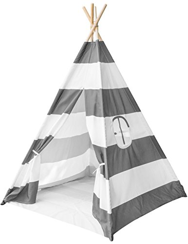 Sorbus Teepee Tent for Kids Play — Includes Portable Carry Bag for Travel or Storage — Your Kids Will Enjoy This Indian Tent — Great for Indoor Playroom, Bedroom, Nursery, Photography Props and more